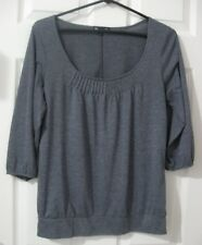 GAP Shirt Womens Size M Gray 3/4 Sleeve Pleated Neckline Top