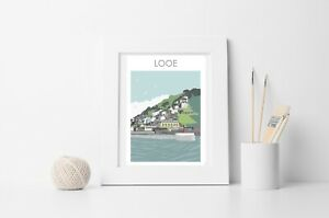 LOOE HARBOUR ENTRANCE CORNWALL PRINT