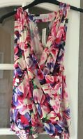 LITTEWOODS DEFINITIONS FLORAL PRINT WRAP VEST TOP BLOUSE SZ 20 BNWT
