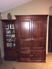 Ethan Allen Entertainment Center/Wall Unit, Solid Wood and Glass Construction