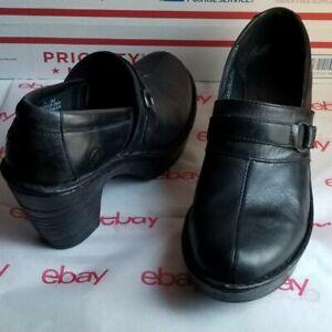 Born Women's 7.5 M Black Bootie Clog Leather Shoes Double Zip Platform Heel
