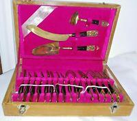 Rare Vintage Brass 19 Pc SIAM Buddah Utensil full Set Thailand Gems Wood Case
