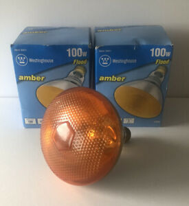 WESTINGHOUSE PAIR OF 100 W 2000 HRS AMBER FLOOD LIGHT BULBS-NEW IN BOX