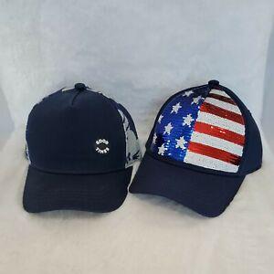 Cat & Jack Summer Trucker Hat LOT OF 2 NWT Sequin USA Flag & Good Times Hawaiian