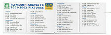 ITV Digital Like Clubcall Football Fixture List Card 2001-2002 Plymouth Argyle