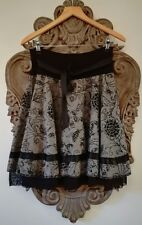 Xanaka Grey Tweed Flared Full Skirt with black embroideries and tulle. Size S/M