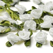 50pcs Satin Ribbon Rose Flower Craft Wedding Appliques Favor DIY Lots White IF