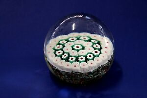 Venitian Murano Millefiori Art Glass - Paperweight - Green and White - Vintage