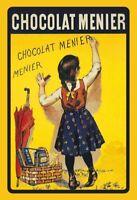 Chocolat Menier Mädchen Blechschild Schild gewölbt Metal Tin Sign 20 x 30 cm