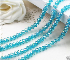 Jewelry Faceted 1000 pcs  Lake Blue AB  3x4mm Roundelle Crystal Beads DIY!
