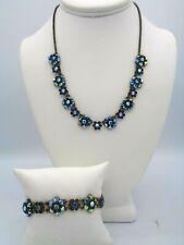 "Vintage Michal Negrin Peacock Blues AB Crystals Necklace & Bracelet Set 18"" L"