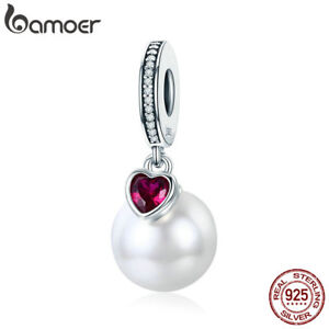 Bamoer S925 Sterling Silver charm Love you Pearl Dangle With CZ For Bracelet