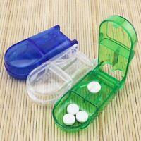 Tablettenteiler Pillenteiler Tablettenzerteiler blau mit Aufbewahrungsfach #wcl