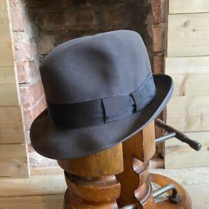 Vtg Wegener Beaver Fedora Trilby Hat Grey EU 59 UK 7 1/4 US 7 3/8 Fur Felt
