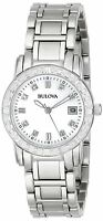 Bulova Women's 96R105 Quartz Diamond Accents Silver Tone 26mm Watch
