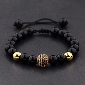 Natural Black Zircon Micro Pave Round Gold Beaded Macrame Adjustable Bracelets