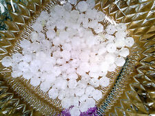 Vtg 100 WHITE HURRICANE GIVRE GLASS FLOWER BEADS SPACER BEADS 8MM #101012u