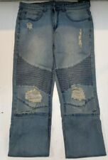 Young and Reckless Men's Ripped Ribbed Knee Jeans Size 32 116666