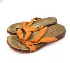 Think! Julia Women Sandals  Leather Cork Sole Flip Flops Slides Sz 41 Orange