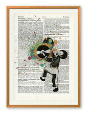 Estrope 'Clash' LTD ED Imprimer sur Antique Vintage Book Page + Banksy ou dolk art pin