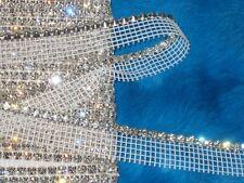 "3 yards 4 mm crystal rhinestone on 3/4"" width white mesh netting"