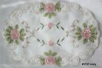 """Spring Embroidered Pink Rose Floral Sheer Placemat Tray Cloth 11x17"""" 2PCS #3737W"""