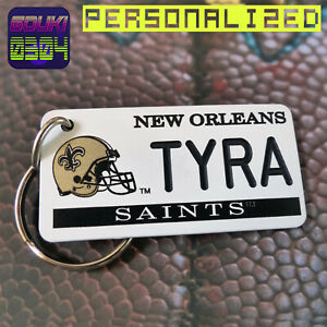 Personalized New Orleans Saints Keychain - Key Ring Tag - Custom Name Text - NFL