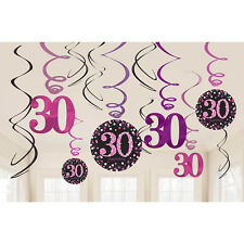 12 Sparkly Happy 30th Birthday Hanging Swirl/Cutout Pink Black Party Decorations