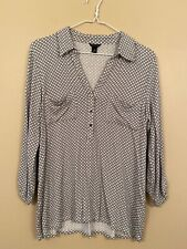 Ann Taylor Black & White Knit Blouse Medium
