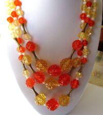 collier bijou ancien 3 rangées de perles déco couleur jaune orange *4452