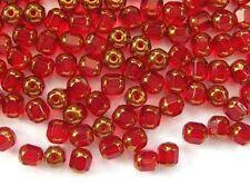 40 RED faceted lantern Czech glass beads - 6mm