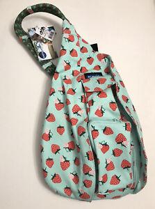 KAVU Mini Rope Sling Bag Crossbody Shoulder Polyester Backpack - Strawberries