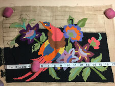 Vintage Needlepoint Tapestry Floral Flowers Bird of Paradise For Pillow/Frame