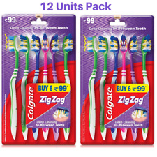 12 Pc Pack Colgate Toothbrush ZIG ZAG Bristle Flexible Body Extra Clean