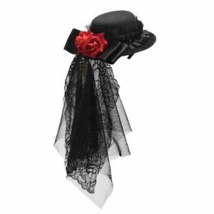 Vintage Women Red Floral Black Lace Mini Hat Hair Clip Gothic Headwear Steampunk