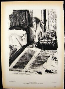 Degas Nude Woman & Portrait of Manet French Engraving Photogravure Print 1939