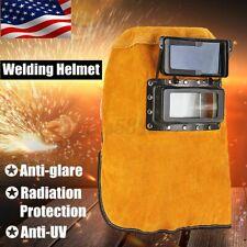 Leather Welding Hood Welder Helmet Mask Darkening Filter Lens Head Neck Protect