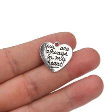 10pcs 20x21mm Heart Charms Engraved Letter antique silver tone Pendant Making