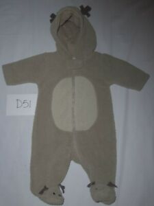 Baby Carters One Piece Fleece Reindeer Outfit Size 3 Months -0512D51