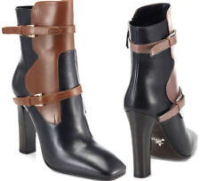 Prada Brown Two Tone Buckles  Ankle Moto Riding Bootie 40 Boots