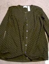 Liz Claiborne Cardigan Sweater, L Petite in dark olive Herringbonewv 100% silk