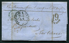 1856 Trans Atlantic stampless folded letter, England to New Orleans.    ta 73