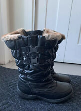 Totes Womens Black Snow Bunny Faux Fur Puffer Waterproof Winter Boots 8