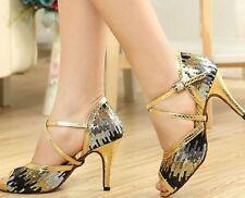 New Women Gold Glitter Latin Salsa Ballroom Dance Shoes High Heels All Size