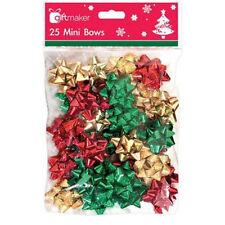 25 Autoadesivo Regalo di Natale Fiocchi Di Natale Wrap piccolo mini pull Oro Argento Rosso