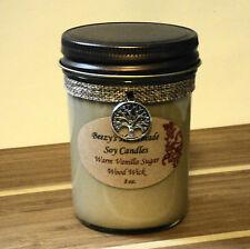 8 oz. Warm Vanilla Sugar Handmade Natural Soy Wax Wood Wick Cream Candle