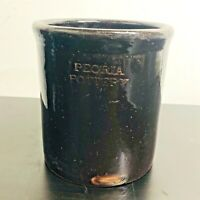Vintage Peoria Pottery Stoneware Crock Dark Brown Cheese Butter Measures 6 1/4""