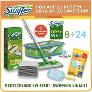 """Swiffer Bodenwischer Starter-Set + Feuchte Tücher """"Reine Frische"""" + Staubmagnet"""
