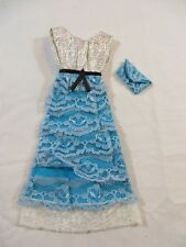 Vintage Barbie Clone Shillman Silver Blue Lace Dress w Purse