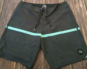 Quicksilver Boardshorts GRAY with Teal Stripe MINT CONDITION Size 36